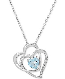 "Sky Blue Topaz (1 ct. t.w.) & Diamond Accent Double Heart 18"" Pendant Necklace in Sterling Silver"