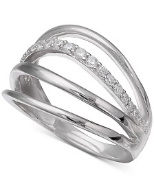 Giani Bernini Cubic Zirconia Multi-Row Ring in Sterling Silver, Created for Macy's