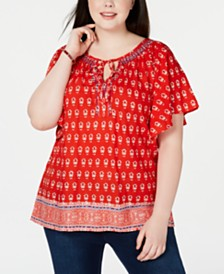 NY Collection Plus Size Flutter-Sleeve Printed Blouse