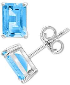 EFFY® Blue Topaz Stud Earring (2-5/8 ct. t.w.) in 14k White Gold