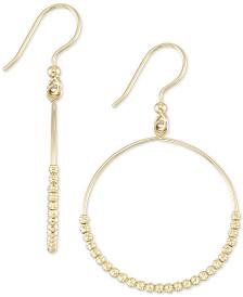 Beaded Drop Hoop Earrings in 14k Gold