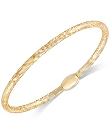 Stretch Mesh Bangle Bracelet in 14k Gold, White Gold or Rose Gold