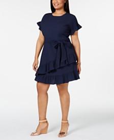 MICHAEL Michael Kors Plus Size Pucker Wrap Dress