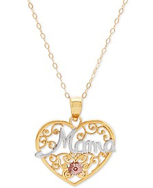 "Mama Heart 18"" Pendant Necklace in 10k Gold & 10k Rose Gold"