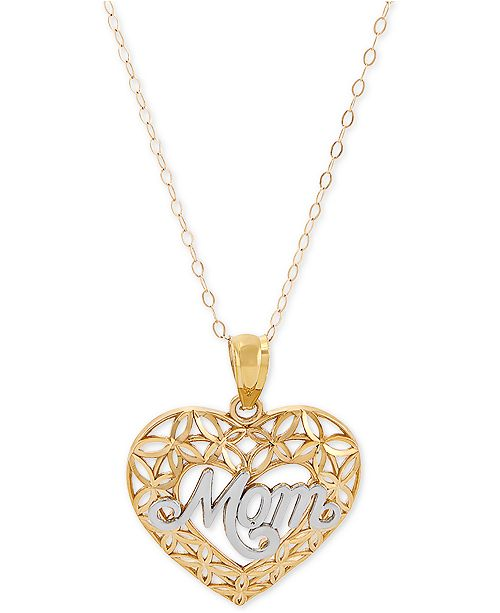 "Macy's Mom Heart 18"" Pendant Necklace in 10k Gold"