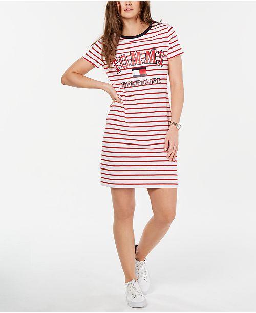 Tommy Hilfiger Women Red & White Striped T shirt Dress