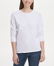DKNY Pieced Mixed-Media Sweater