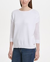4bc654063c9 DKNY Cotton Mesh-Sleeve Sweater