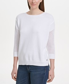 DKNY Cotton Mesh-Sleeve Sweater