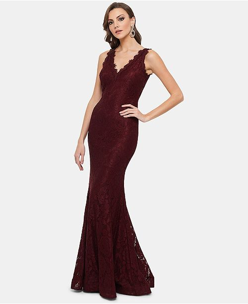 Betsy & Adam Lace V-Neck Mermaid Gown