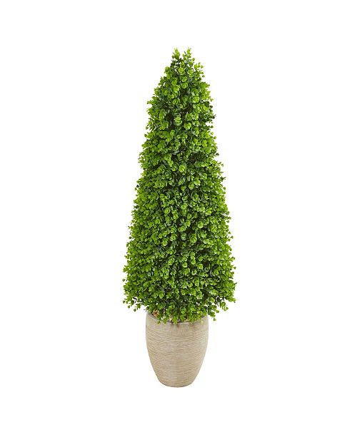 """Nearly Natural 52"""" Eucalyptus Topiary Artificial Tree in Sand Colored Planter (Indoor/Outdoor)"""