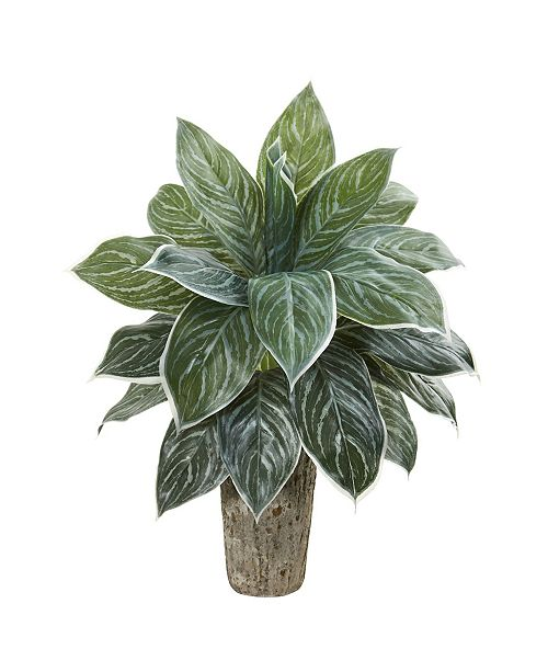 Nearly Natural Aglaonema Artificial Plant in Weathered Oak Vase (Real Touch)