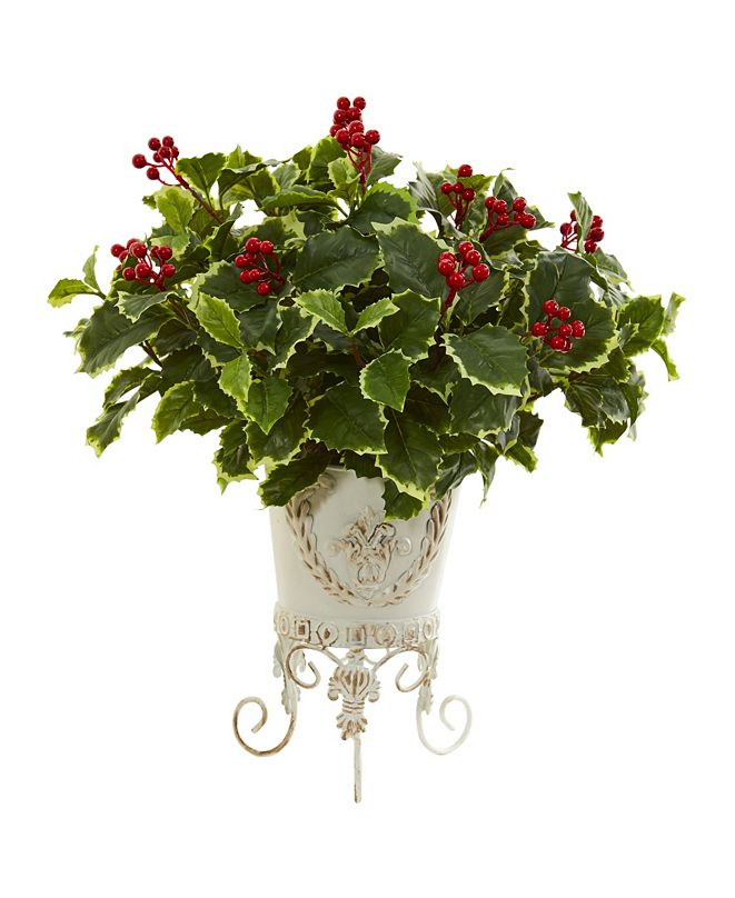 Nearly Natural Variegated Holly Artificial Plant in Metal Planter (Real Touch)