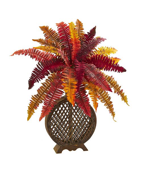 "Nearly Natural 30"" Autumn Boston Fern Artificial Plant in Weave Planter"