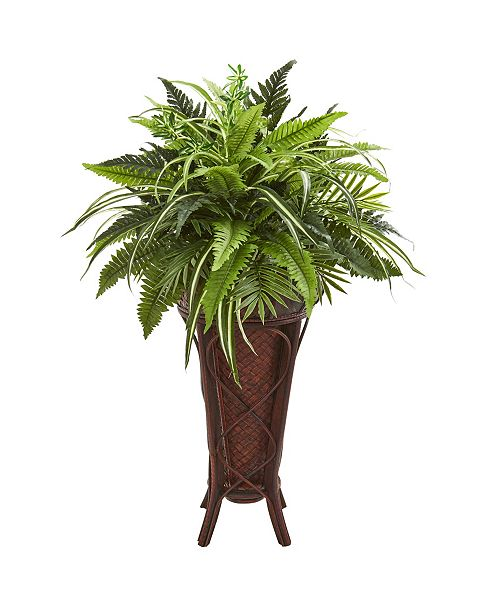 "Nearly Natural 32"" Mixed Greens and Fern Artificial Plant in Decorative Stand"