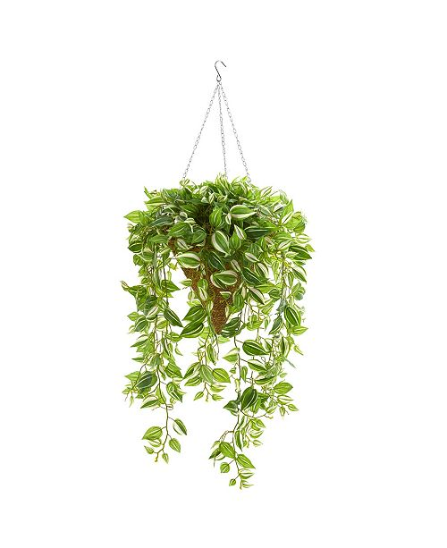 "Nearly Natural 48"" Purple Heart Evergreen Artificial Plant in Hanging Basket (Real Touch)"