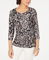 0b1c1bfb37f8fd JM Collection 3 4-Sleeve Novelty Printed Jacquard Top
