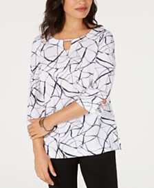 JM Collection Crinkle Texture Printed 3/4-Sleeve Top, Created for Macy's