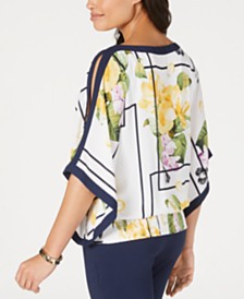 JM Collection Printed Cold-Shoulder Smocked-Hem Top, Created for Macy's