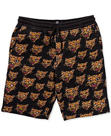 Big Boys Ozzie Classic-Fit Cat-Print Fleece Shorts