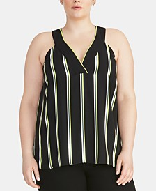RACHEL Rachel Roy Trendy Plus Size Edina Sleeveless Striped Top