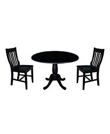 "International Concept 42"" Round Top Pedestal Table with 2 Chairs"
