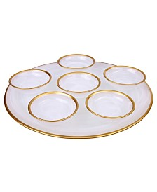 "Classic Touch 12.75"" Alabaster Seder Plate with Rim"