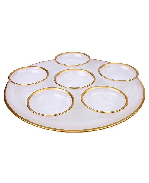 """Classic Touch 12.75"""" Alabaster Seder Plate with Rim"""