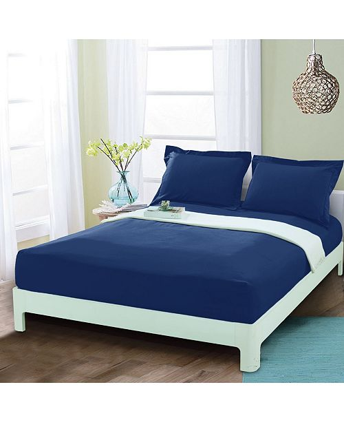 Elegant Comfort Silky Soft Single Fitted Sheet Queen Navy