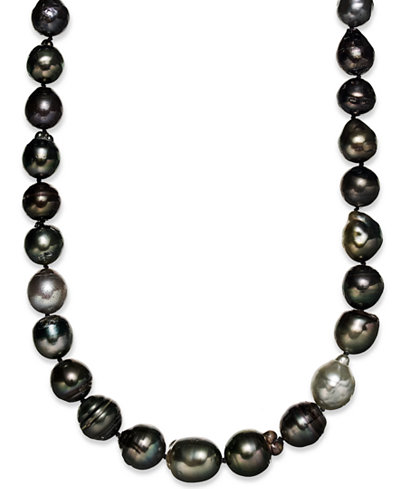 Sterling Silver Necklace, Multi Colored Cultured Tahitian Pearl (9-11mm) Baroque Strand Necklace