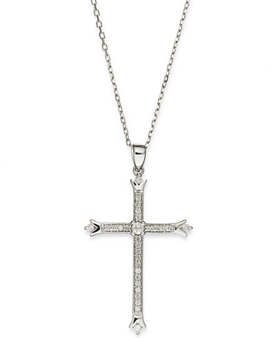 Diamond Skinny Cross Pendant Necklace in 14k White Gold (1/6 ct. t.w.)