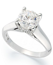 Certified Diamond Solitaire Engagement Ring in 18k White Gold (1-1/2 ct. t.w.), Created for Macy's