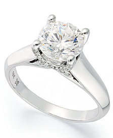 X3 Certified Diamond Solitaire Engagement Ring in 18k White or Yellow Gold, Created for Macy's