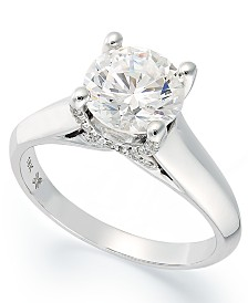 x3 certified diamond solitaire engagement ring in 18k white gold 1 12 - Macy Wedding Rings