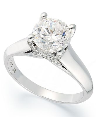 X3 Certified Diamond Solitaire Engagement Ring in 18k White or