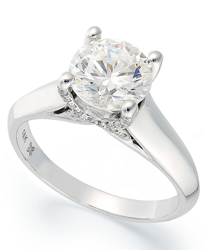 X3 - Certified Diamond Solitaire Ring in 18k White Gold