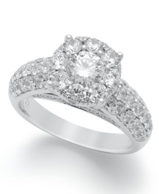 Diamond Engagement Ring in 14k White Gold 2 ct tw Rings