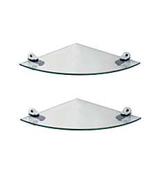 "Set of 2 Glass Radial Floating Shelves with Chrome Brackets 10"" x 10"""
