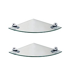 """Set of 2 Glass Radial Floating Shelves with Chrome Brackets 10"""" x 10"""""""
