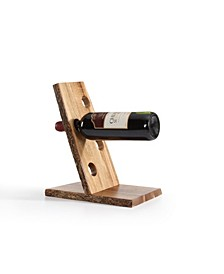 Four Bottle Floating Wine Holder with Bark