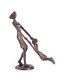 Mother Playing and Swinging Child Cast Bronze Sculpture Figurine