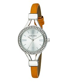 Laura Ashley Ladies' Tan Thin Strap Silver Case Crystal Bezel Watch
