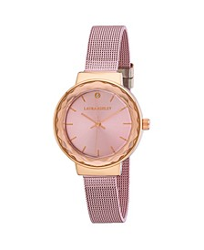 Ladies' Pink Facet Bezel Sunray Dial Mesh Watch
