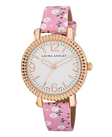 Women's Pink Floral Band Fluted Bezel Watch