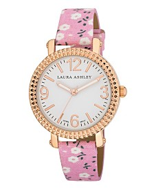 Laura Ashley Women's Pink Floral Band Fluted Bezel Watch
