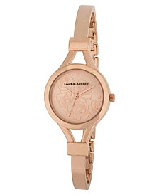 Ladies' Rose Gold Thin Bangle With Floral Dial Watch