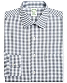 Men's Milano Extra-Slim Fit Non-Iron Navy Gingham Supima Cotton Dress Shirt