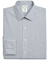 1111a901ec Brooks Brothers Men's Milano Extra-Slim Fit Non-Iron Navy Gingham Supima  Cotton Dress