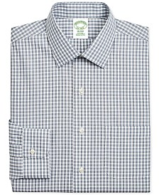 Brooks Brothers Men's Milano Extra-Slim Fit Non-Iron Navy Gingham Supima Cotton Dress Shirt