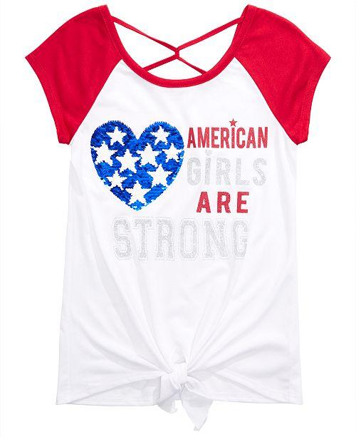 Beautees Big Girls Cross-Back Tie-Front Reversible Sequin T-Shirt